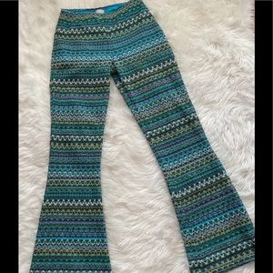 BYOB Palazzo Beach Flare Pants Sz M Chevron Knit
